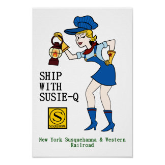 Poster Bateau avec Susie Q, affiche de chemin de fer