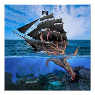 Poster Bateau de pirate contre le calmar géant