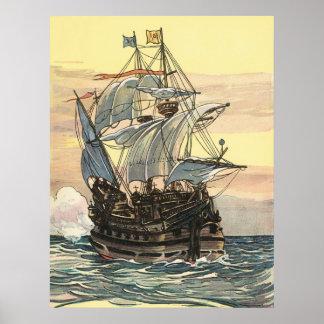 Poster Bateau de pirate vintage, navigation de galion sur
