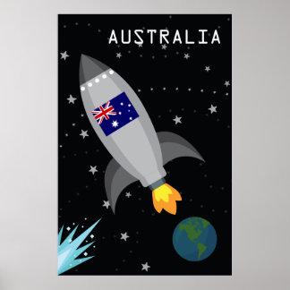 Poster Bateau de Rocket de drapeau de l'Australie