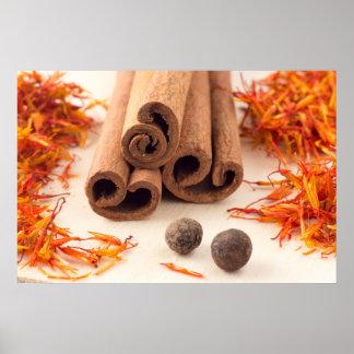 Poster Bâtons de cannelle, safran aromatique et piment