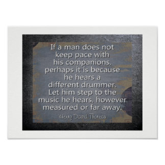 Poster Batteur différent --Ouote -- Thoreau -- Copie