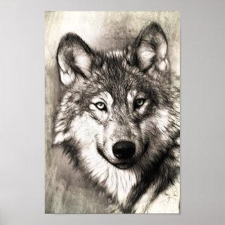 Poster Beau croquis de l'affiche du visage du loup