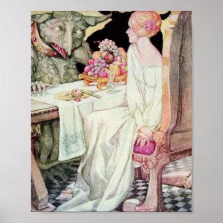 Poster Beauté vintage et l'illustration de bête