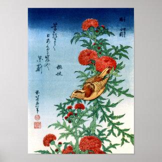 Poster beaux-arts d'oiseau et de fleurs de Hokusai de 北斎