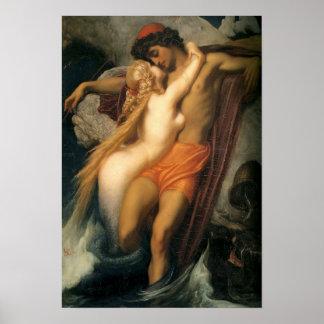 Poster Beaux sirène et humain vintages en affiche d'amour