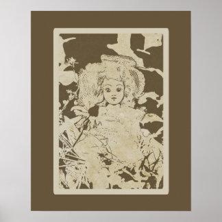 Poster Bébé antique - poupées de cru de Terre-tons