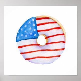 Poster Beignet d'aquarelle de drapeau de l'Amérique