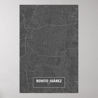Poster Benito Juárez, Mexique (blanc sur le noir)