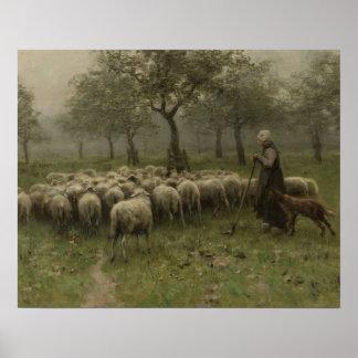 Poster Bergère avec un troupeau des moutons, mauve