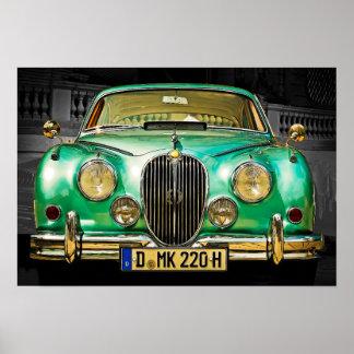 Poster Berline verte métallique classique de Jaguar