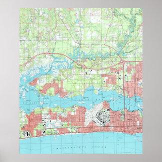 Poster Biloxi Mississippi Map (1992)
