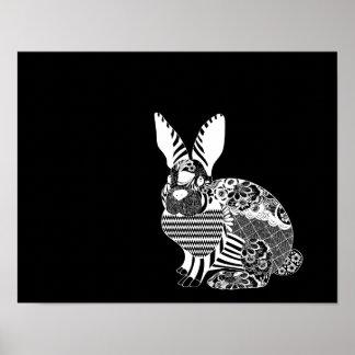 Poster Blanc de lapin d'artisan sur le champ noir