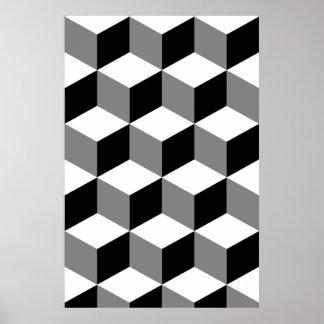 Poster Blanc et gris de noir de motif de cube