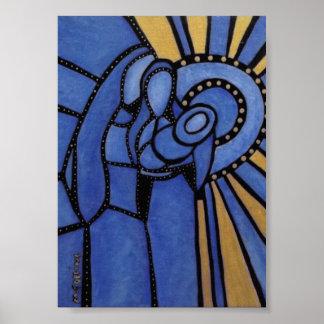 Poster Bleu et or saints modernes de famille