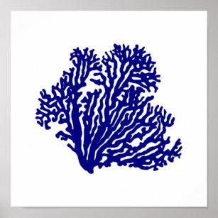 Poster Bleu marine sur le corail côtier blanc de décor