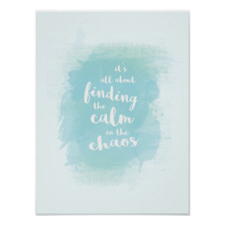 Poster Bleu trouvant calme dans la calligraphie