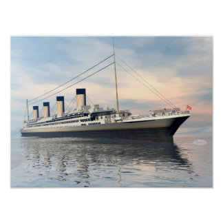 Poster boat_titanic_close_water_waves_sunset_pink_standar