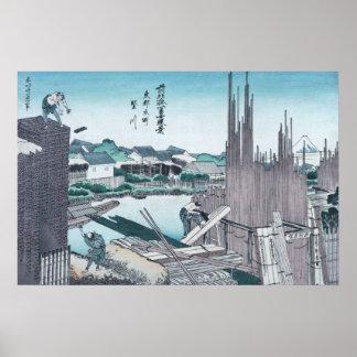 Poster Boisage japonais Ukiyo-e de construction par
