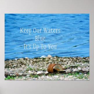 Poster Boîte rouillée par l'affiche de message de l'eau