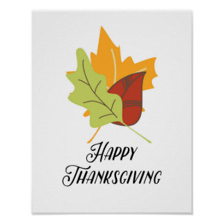 Poster Bon thanksgiving - feuille - affiche