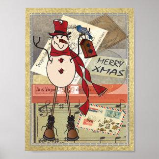 Poster Bonhomme de neige rouge d'affranchissement de