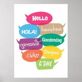 Poster Bonjour copie d'affiche du monde dans 8 langues
