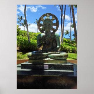 Poster Bouddha assis par bronze, Waikoloa, Hawaï