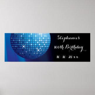 Poster Boule bleue de disco de partie de 100th
