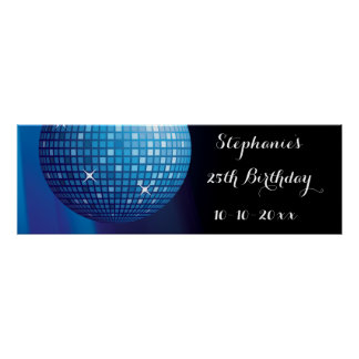 Poster Boule bleue de disco de partie de 25ème
