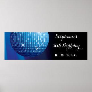 Poster Boule bleue de disco de partie de 30ème