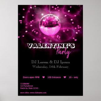 Poster Boule de disco de Saint-Valentin - copie d'affiche