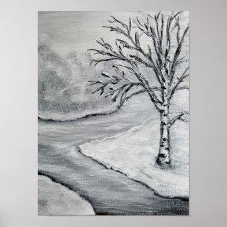 Poster Bouleau d'hiver en noir et blanc