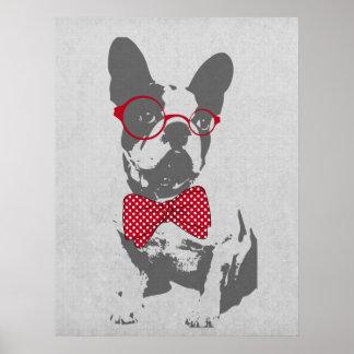 Poster Bouledogue français animal vintage à la mode drôle