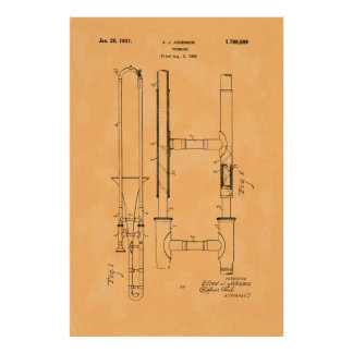 Poster Brevet vintage magnifique de trombone
