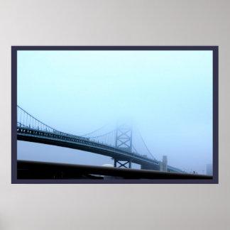 Poster Brouillard au-dessus de pont de Ben Franklin