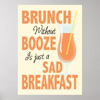 Poster Brunch sans l'affiche de cuisine de boissons