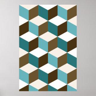 Poster Bruns de sarcelles d'hiver de motif de cube blancs