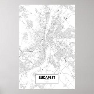 Poster Budapest, Hongrie (noir sur le blanc)