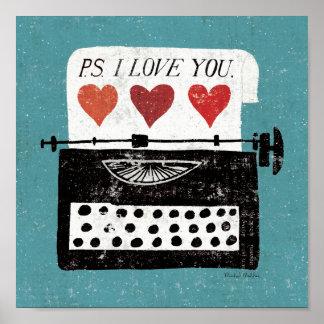 Poster Bureau vintage - machine à écrire