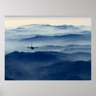 Poster C-130 au-dessus de la brume