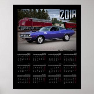 Poster Calendrier 1971 de la voiture 2018 de muscle de