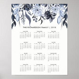 Poster Calendrier 2018 floral foncé de l'aquarelle |