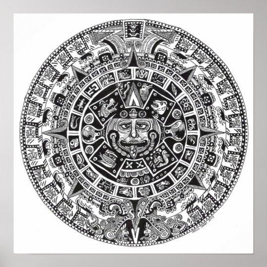 Calendrier Maya Dessin.Poster Calendrier Maya
