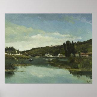 Poster Camille Pissarro - la Marne chez Chennevieres