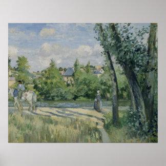 Poster Camille Pissarro - lumière du soleil sur la route,