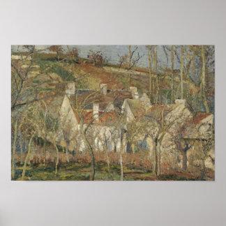 Poster Camille Pissarro - toits rouges, coin d'un village