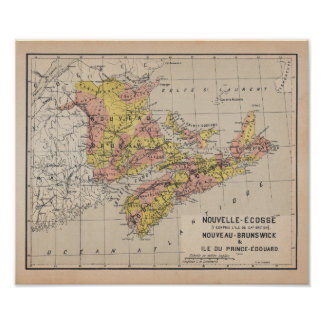 Poster Canadian Maritimes 1920 French Antique Map