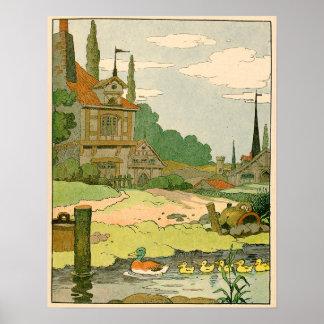 Poster Canard sauvage et canetons nageant sur la rivière