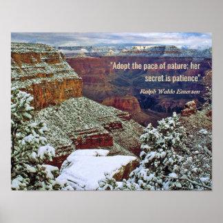Poster Canyon grand en hiver avec la citation d'Emerson
